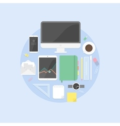 Flat design objects productive office workplace vector image