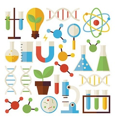 Flat Science and Research Objects Set isolated vector image
