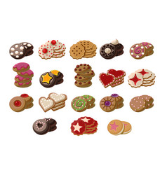 Flat set of tasty fresh-baked cookies with vector