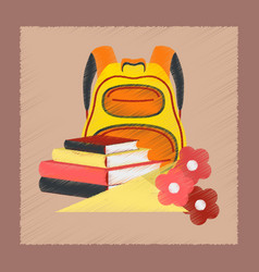 flat shading style icon book bag flowers vector image