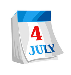 fourth july independence day tear-off calendar vector image