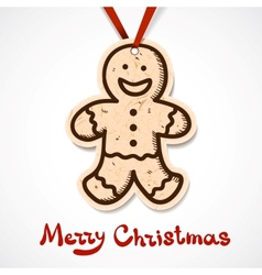 Gingerbread cookie Paper label on ribbon vector image