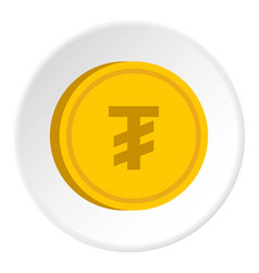 Gold coin with mongolian tugrik sign icon circle vector