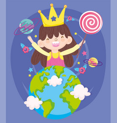 Happy children day smiling little girl with crown vector