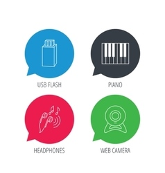Headphones web camera and USB flash icons vector
