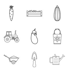 Herbivore icons set outline style vector