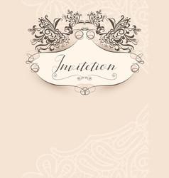 invitation vintage template vector image