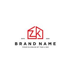 Letter zk home logo design concept vector
