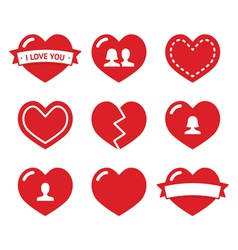 Love hearts icons set for Valentines Day vector image
