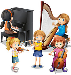 Many children playing classical music vector image