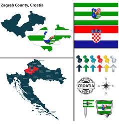 Map zagreb county croatia vector