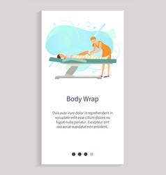 Massage skincare body wrap spa procedure vector