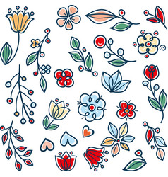 meadow garden twigs leaves and flowers vector image