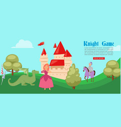 medieval or fairy tale cartoon knight game banner vector image