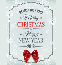 Merry christmas and happy new year 2018 card vector