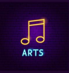 music arts neon label vector image