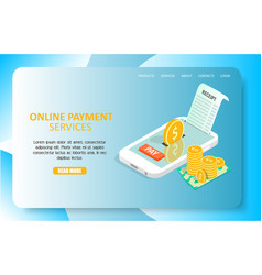 online payment services landing page website vector image