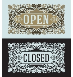 Open and Closed cards set vector image