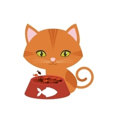 Orange cat green eyes plate food fish print vector