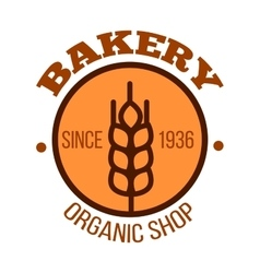 Organic bakery shop orange symbol with wheat vector