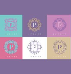 p letter pastel floral monogram lines logo design vector image