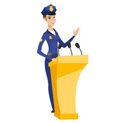 Police woman giving a speech from tribune vector