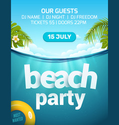 Pool beach summer party invitation banner flyer vector