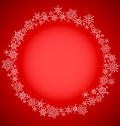 Red christmas frame with snowflakes circle vector