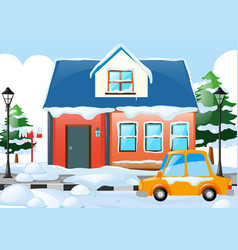 Scene with house and car covered by snow vector