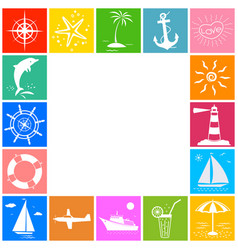 Sea ocean travel summer vacation icon border vector