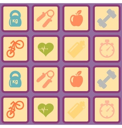 Seamless background with fitness symbols vector image