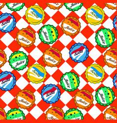 seamless retro soda bottle caps pattern vector image