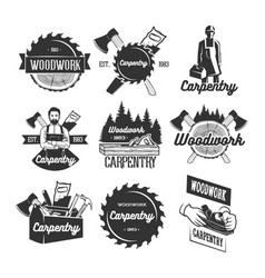 Set of carpentry logo templates vector