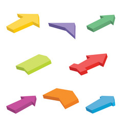 set of eight colorful isometric arrows vector image