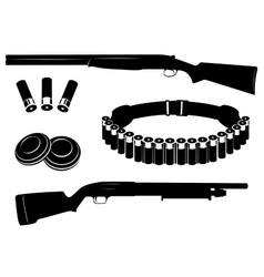 Set of shotgun and hunting equipment vector image