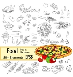 Sketch Set Pizza and Fastfood vector