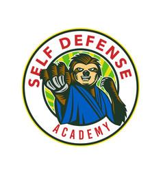 Sloth karate self defense badge vector