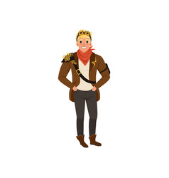 Smiling steampunk guy standing with hands in vector
