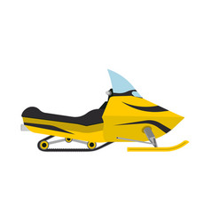snowmobile side view yellow outdoor travel vector image