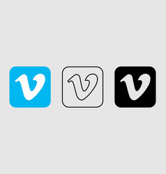 social media icon set for vimeo in different style vector image