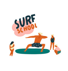 Surf school logo with funny character surfer vector