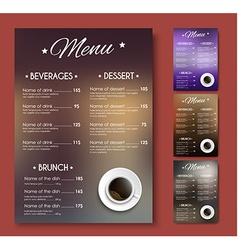 Templates coffee menu of different colors with vector image