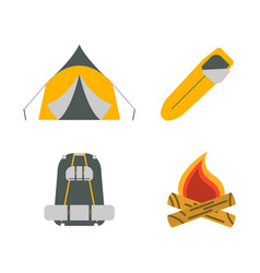 Tent campfire backpack sleeping bag flat icons vector