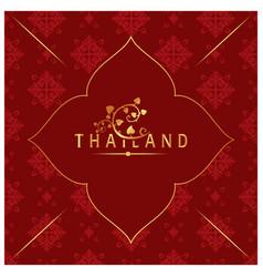 thailand bodhi leaves thai design red background v vector image