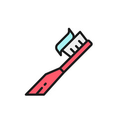 toothbrush with paste toothpaste flat vector image