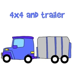 Trailer with hand draw vector