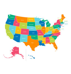 united states - bright colors political map vector image