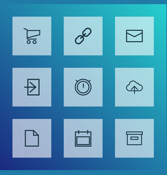 user icons line style set with base shopping vector image