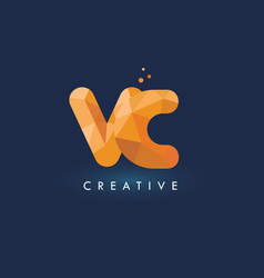 Vc letter with origami triangles logo creative vector