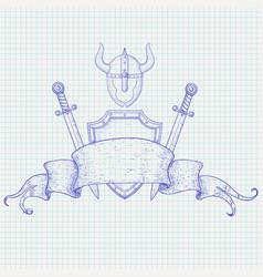 warrior accessories shield swords helmet hand vector image